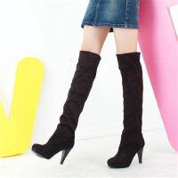 ELEISE美国艾蕾莎新品秋冬188-5819韩版磨砂绒面超高跟女士过膝长靴