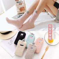 毛巾袜加厚保暖珊瑚绒袜子女中筒袜可爱居家地板袜长袜睡眠袜