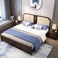 新中式��木床1.8米主�P�p人�ξ锔呦浯采��U意�~元素�p奢家具 +乳�z床�  1500mm*2000mm �饨Y��