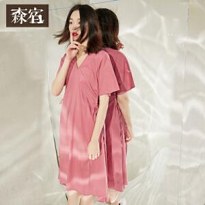 森宿夏装纯棉文艺系带收腰V领A型连衣裙女短袖