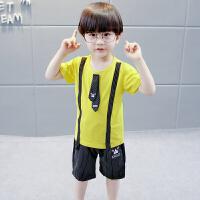 童装男童套装2018新款儿童夏季短袖领带两件套中小童卡通小狗套装