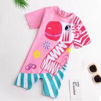 儿童泳衣男女童连体中大童运动宝宝游泳衣