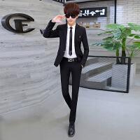 青年商务时尚职业装男士修身免烫皱西服休闲西裤两件套装伴郎服