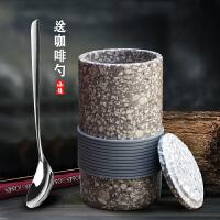 拾野丨麦饭石水杯复古简约茶杯子咖啡杯带盖马克杯陶瓷日式