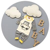宝宝套装春秋婴儿春装6-9-12月纯棉条纹套头衫男童分体服两件套潮