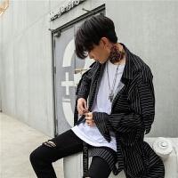 条纹长袖宽松衬衫中长款男日系韩版个性飘带DJ夜店男装晒衣潮流