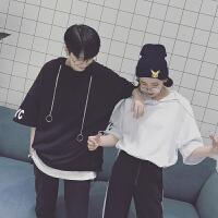 夏季情侣装短袖卫衣男韩版宽松蝙蝠袖体恤青少年分半袖连帽T恤