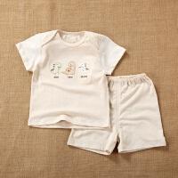 彩棉0男女����-短袖短�套�b1夏季2款3���6夏�b��月�q半 恐��卡通套�b