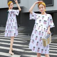 潮妈孕妇装时尚短袖宽松大码孕妇连衣裙夏季菠萝印花孕妇裙Y-9079