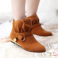 彼艾2014老北京布鞋秋冬时尚女靴裸靴 舒适低跟靴 蝴蝶结短靴甜美女靴子