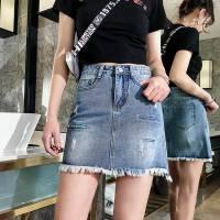 春夏季牛仔短裤短裙子韩版显瘦牛仔裙毛边不规则时尚裙子修
