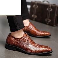 CUM新品 头层牛皮鳄鱼纹男士尖头皮鞋英伦商务正装透气单皮鞋婚鞋休闲皮鞋