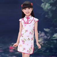儿童旗袍夏装 女童中国风复古唐装连衣裙子 小孩幼儿短袖女孩童装