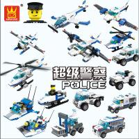 万格乐博士积木 城市警察警车系列 小颗粒儿童玩具