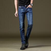 夏季新款男士弹力牛仔裤男式小脚裤休闲修身型长裤子时尚潮流男装 蓝色