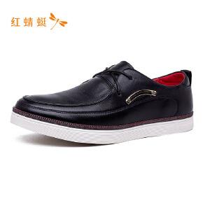 红蜻蜓简约纯色百搭低跟舒适休闲男皮鞋