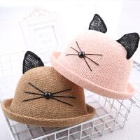 潮夏季草帽猫耳朵蕾丝宝宝帽子儿童盆帽礼帽男女童渔夫帽