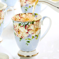 杯子陶瓷欧式创意马克杯带盖大容量骨瓷水杯早餐牛奶杯咖啡杯