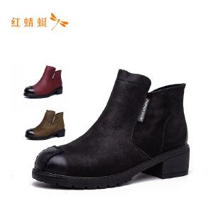 红蜻蜓2018新款纯色短靴女