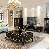 20190627052651953美式轻奢实木茶几组合简约欧式客厅带抽屉电视柜子家具 整装