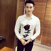 秋装长袖玫瑰印花衬衫韩版修身衬衣青年百搭潮流寸衣男士工装寸衫