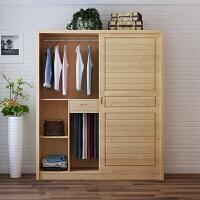 松木衣柜实木简约2门 推拉移门衣柜卧室家具原木衣橱木质 2门 组装