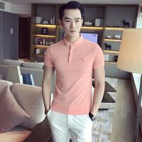 夏季男士短袖T恤韩版修身商务休闲POLO衫男潮流发型师纯色保罗衫