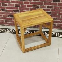 新中式榆木家具凳子矮凳方凳白茬白坯免漆禅意 45*35*45烫蜡 运费到付