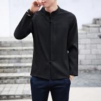 新品时尚休闲暗门襟盘扣中国风长袖衬衫男立领唐装民族风麻衬衣
