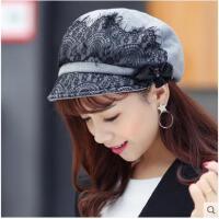 韩版潮秋冬天帽子女贝雷帽时装帽鸭舌帽盆帽显脸小时装帽画家帽女