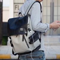 男士双肩包男韩版时尚背包男大学生书包潮流旅行包电脑包男包皮包SN3240