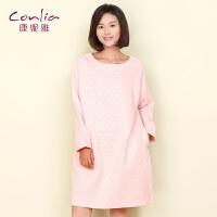 【专柜同款】康妮雅睡衣 女士秋季薄款甜美睡裙 可外穿居家长袖中裙