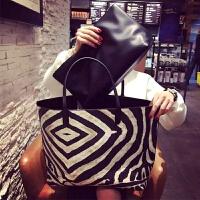 手提包女 欧美休闲单肩包潮斑马纹黑白撞色子母大包 大容量女包包