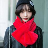 毛绒学生可爱围巾围巾女士韩版保暖加厚加绒围脖