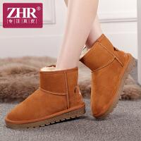 ZHR秋冬季新款真皮短靴女靴子厚底冬靴雪地靴女短筒靴女鞋棉鞋潮P12