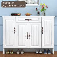 欧式实木鞋柜家用门口玄关进门简约现代经济型多功能客厅储物柜 组装
