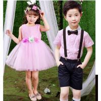 六一儿童公主裙表演服女童礼服裙男童背带裤女孩合唱蓬蓬裙婚纱裙
