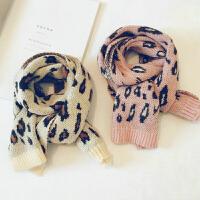秋冬装针织加厚韩版幼儿宝宝洋气女童豹纹围脖潮儿童围巾