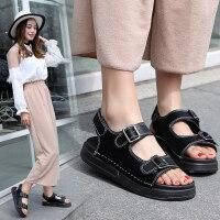 韩国厚底沙滩魔术贴平底罗马百搭凉鞋女新款2018平底夏季学生女鞋