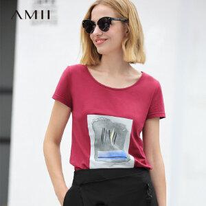 【会员节! 每满100减50】Amii极简ulzzang欧洲站insT恤女2018夏圆领抽象印花短袖休闲上衣