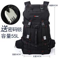 新款新款大容量旅行包男士双肩背包户外休闲多功能登山包男 黑色
