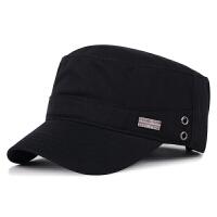 帽子男士秋冬季休闲平顶帽户外保暖帽全棉鸭舌帽军帽