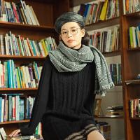 【活动价:119元】茵曼高领连衣裙冬纯色气质长袖提花毛织保暖显瘦中裙女【1804228】