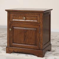 美式黑胡桃色实木家具红橡木床边柜纯实木床头柜小柜子