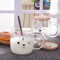 简约玻璃杯带盖勺牛奶杯耐热耐高温办公室超萌可爱水杯早餐燕麦杯