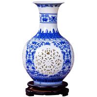 家居客厅装饰摆件景德镇陶瓷摆件 创意镂空青花花瓶插花花器