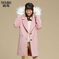 森马毛呢外套 冬装 女士便服中长款呢大衣纯色外套韩版潮