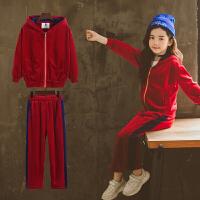 女童运动套装春秋装中大童时髦洋气儿童秋季丝绒两件套潮