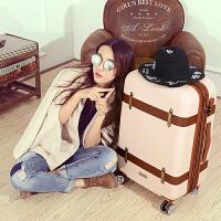 复古拉杆旅行箱万向轮女小清新行李箱欧美20/24寸登机箱学生韩版 米白色 扩展版 24寸