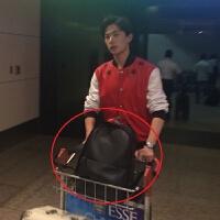 黑色双肩包男士潮流同款书包牛皮男士背包杨洋休闲旅行包